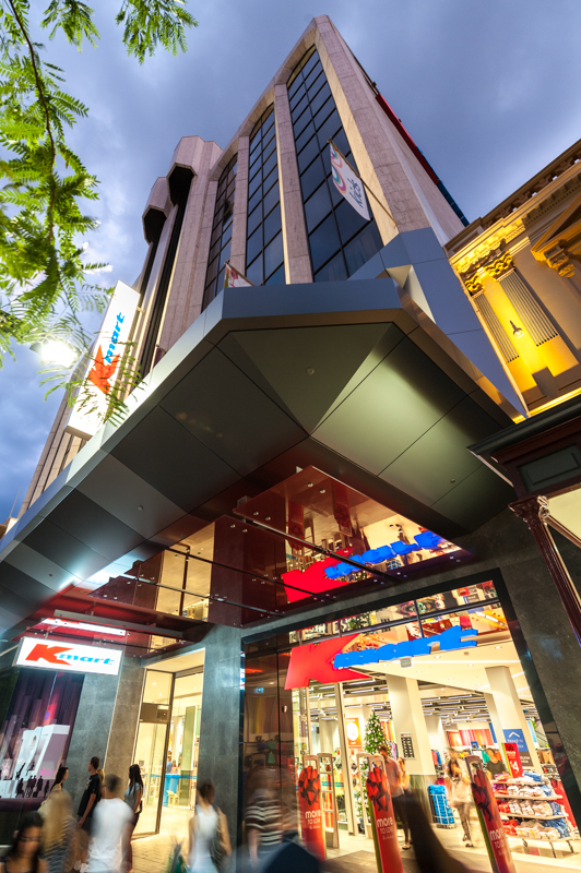 Rundle Mall Building Lit Up